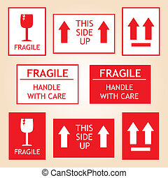 frágil, etiquetas, envío