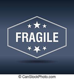 frágil, hexagonal, blanco, vendimia, estilo retro, etiqueta