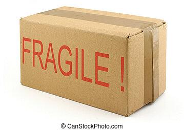 frágil, papelão, bo