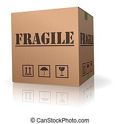 frágil, poste, pacote, caixa papelão