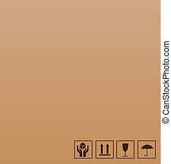 frágil, símbolo, ligado, marrom, papelão