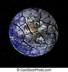 frágil, tierra de planeta, agrietamiento, aparte, en, espacio exterior