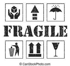 frágil, vetorial, segurança, cinzento, signs.