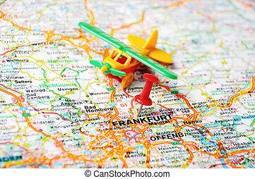 fráncfort, aeropuerto, alemania, mapa
