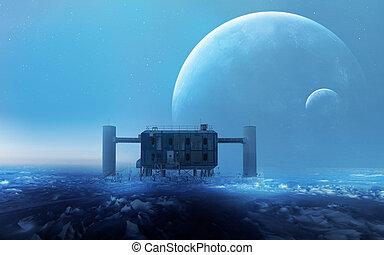 främling, elementara, Möblera, detta, avbild, Utrymme,  Planet, fantasi,  station, bakgrund,  nasa