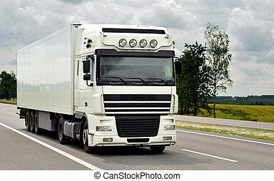 främre del, av, vit, lastbil, på, den, motorväg