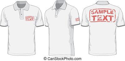 främre del, baksida, och, sida, synen, av, polo-shirt.,...