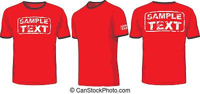 främre del, baksida, och, sida, synen, av, t-shirt., vektor