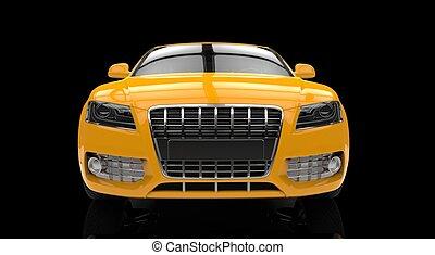 främre del, bil, 2, gul, affär