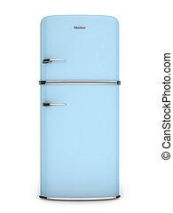 främre del, blå, retro, kylskåp