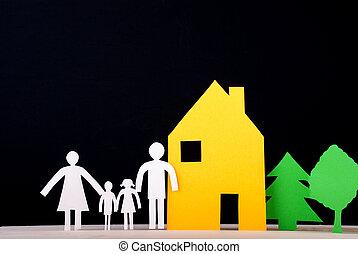 främre del, deras, familj, hus