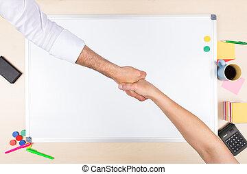 främre del, handslag, whiteboard