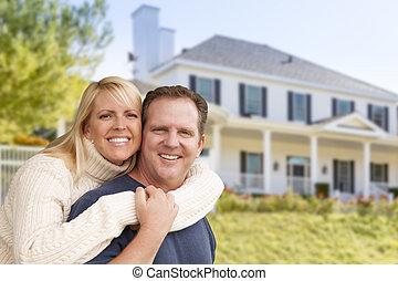 främre del, hus, krama koppla, lycklig