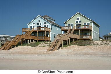 främre del, hus, strand, färgrik, ocean