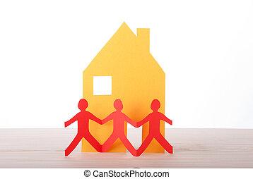 främre del, hus, tre folk