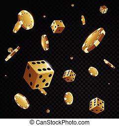 främre del, kasino, guld, gå i flisor, eldgaffel, tärningar, flygning, bakgrund, svart