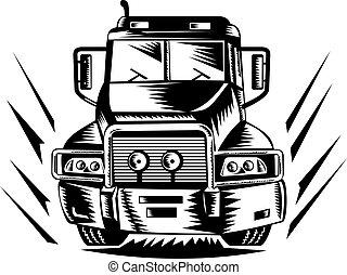 främre del, lastbil, synhåll