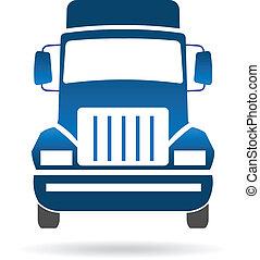 främre del, logo, avbild, lastbil
