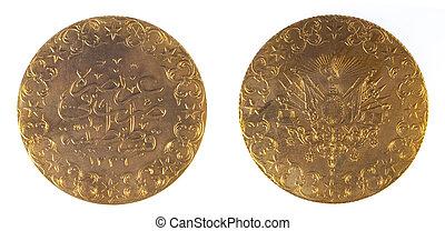 främre del, och, se tillbaka, av, forntida, ottoman, mynt, turkiet
