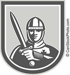 främre del, riddare, hjälmbuske, korslagd, svärd