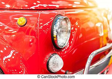 främre del, stad, bil, röd, årgång