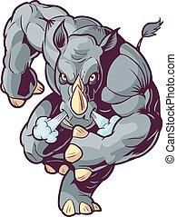 främre del, tecknad film, vektor, åtalande noshörning