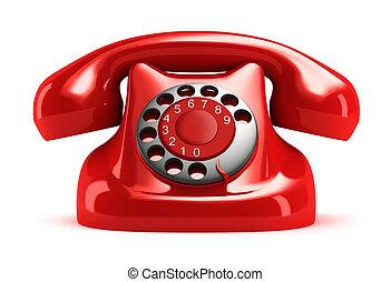 främre del, telefon, retro, röd, synhåll
