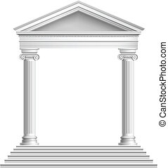 främre del, tempel, kolonner