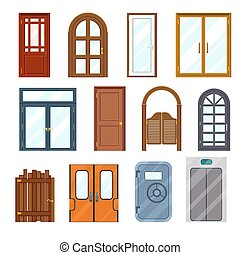 främre del, vektor, färgglatt, dörrar