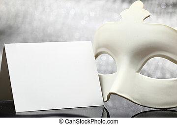 främre del, vit, maskera, bakgrund, glittrande