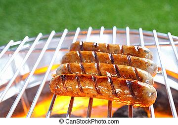 fräsande, barbecue, varm, korvar