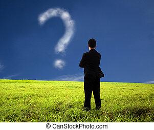 fråga, affärsman, komposition, tänkande, mark., moln, hålla ...