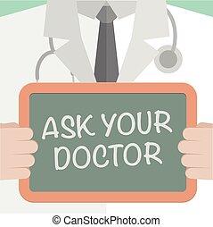 fråga, din, läkare