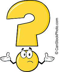 fråga, gul markera