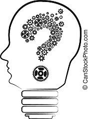 fråga, huvud, dvärg, insida, märke, den, qu, begrepp