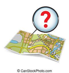 fråga, karta, märke, häfte