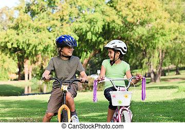 frère sœur, à, leur, vélos