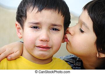 frères, deux, triste