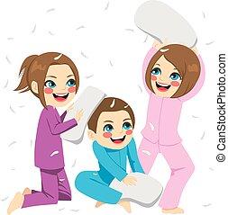frères soeurs, combat oreiller