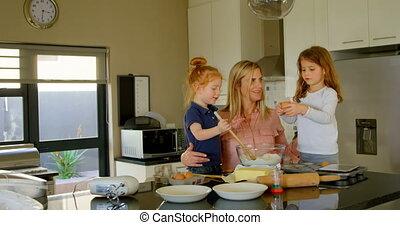 frères soeurs, pâte, mignon, mère, cuisine, préparer, ...