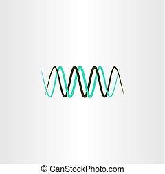 fréquence, longueur onde, logo, vecteur, symbole