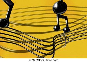 fréquence, musique, audio, note