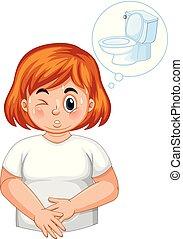 fréquent, urination, girl, diabète