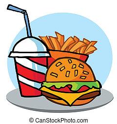 fríe, bebida, cheeseburger