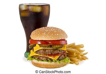 fríe, hamburguesa, francés, cola