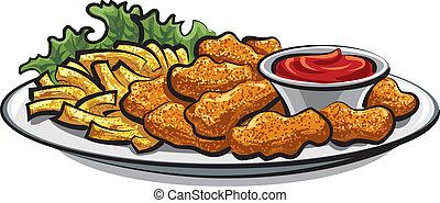 fríe, pollo frito, pepitas