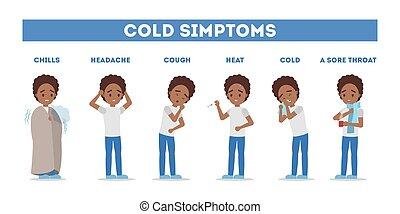 frío, fiebre, infographic., gripe, síntomas, tos