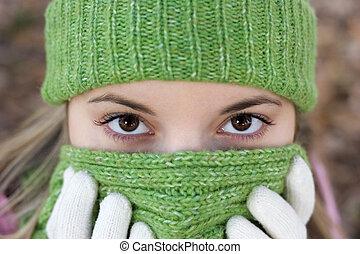 frío, mujer