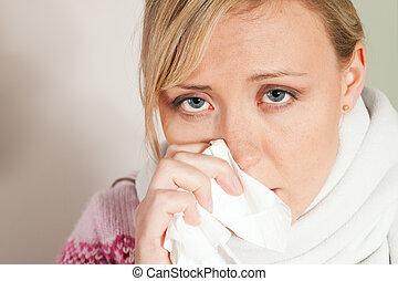 frío, mujer, gripe, o, teniendo