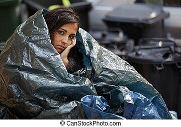 frío, mujer, teniendo, sin hogar
